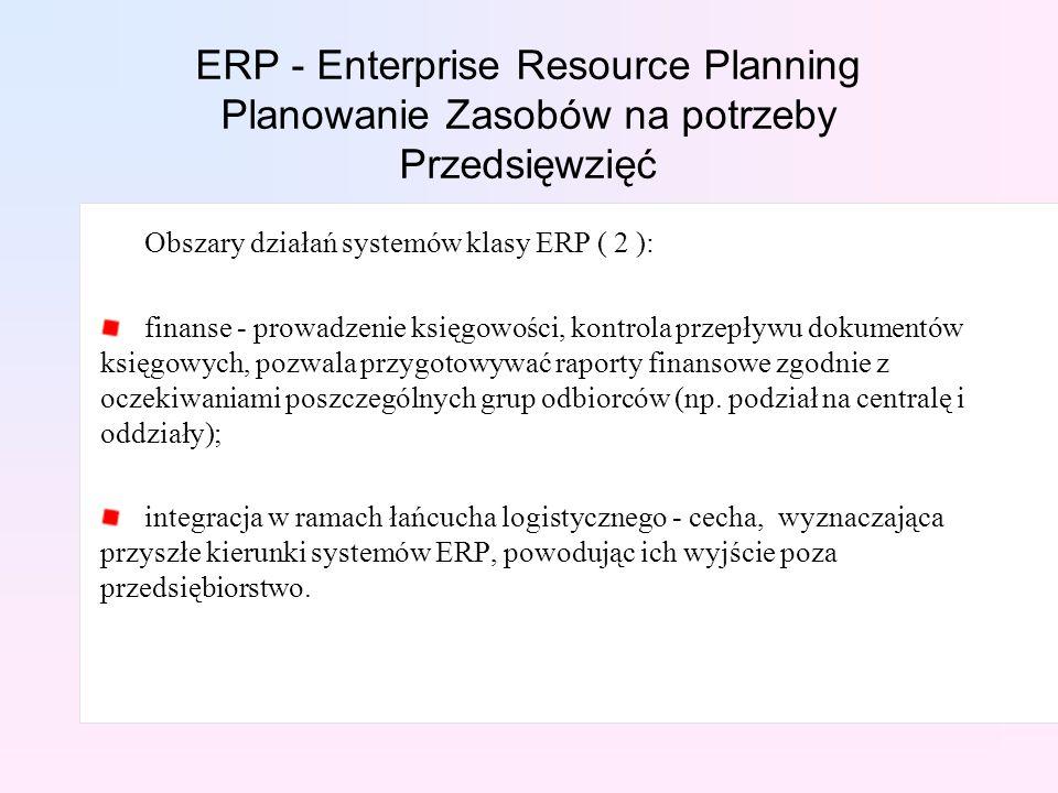 Obszary działań systemów klasy ERP ( 2 ): finanse - prowadzenie księgowości, kontrola przepływu dokumentów księgowych, pozwala przygotowywać raporty finansowe zgodnie z oczekiwaniami poszczególnych grup odbiorców (np.