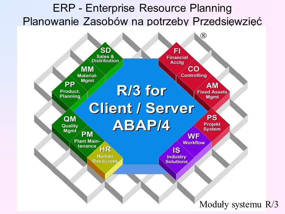 ERP - Enterprise Resource Planning Planowanie Zasobów na potrzeby Przedsięwzięć Moduły systemu R/3