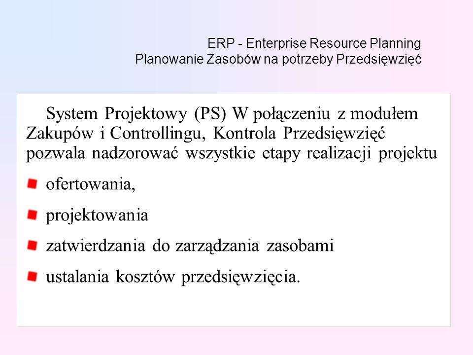 ERP - Enterprise Resource Planning Planowanie Zasobów na potrzeby Przedsięwzięć System Projektowy (PS) W połączeniu z modułem Zakupów i Controllingu, Kontrola Przedsięwzięć pozwala nadzorować wszystkie etapy realizacji projektu ofertowania, projektowania zatwierdzania do zarządzania zasobami ustalania kosztów przedsięwzięcia.