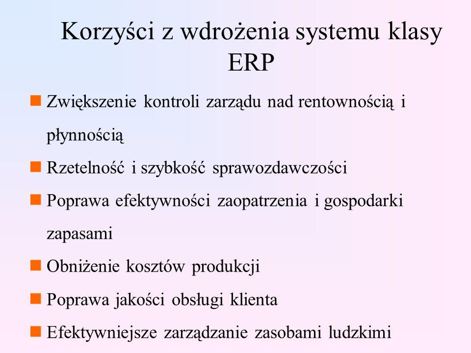 Korzyści z wdrożenia systemu klasy ERP nZwiększenie kontroli zarządu nad rentownością i płynnością nRzetelność i szybkość sprawozdawczości nPoprawa efektywności zaopatrzenia i gospodarki zapasami nObniżenie kosztów produkcji nPoprawa jakości obsługi klienta nEfektywniejsze zarządzanie zasobami ludzkimi