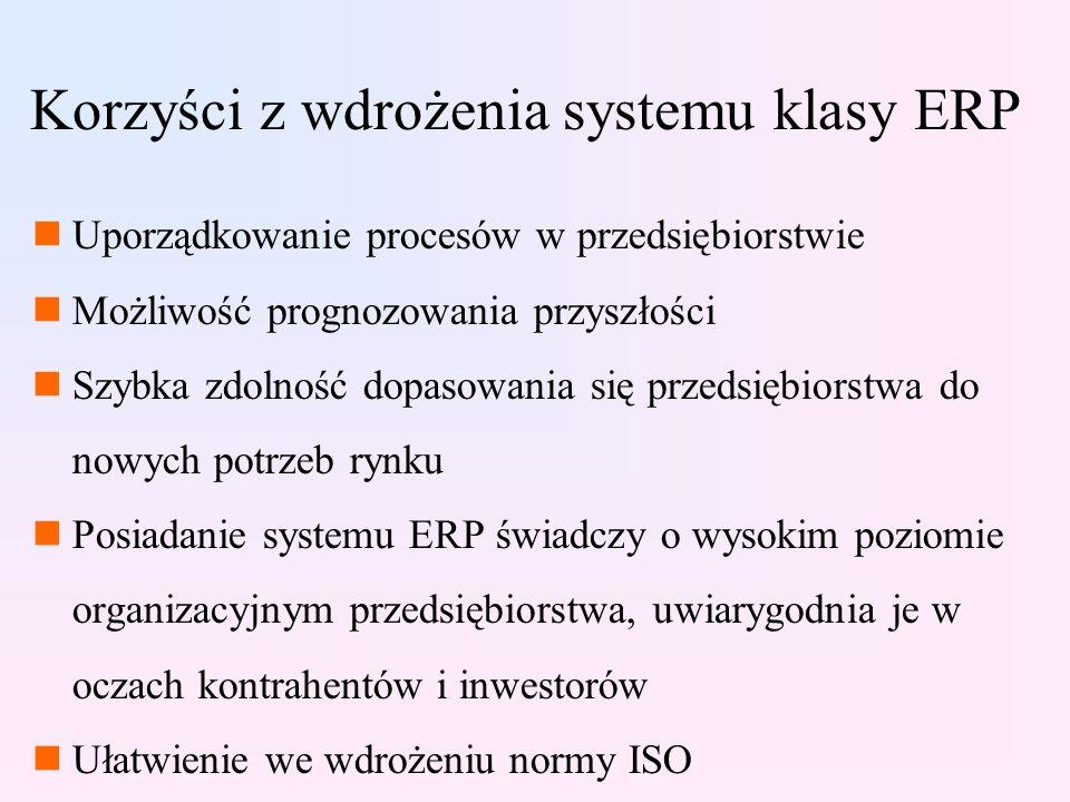 Korzyści z wdrożenia systemu klasy ERP nUporządkowanie procesów w przedsiębiorstwie nMożliwość prognozowania przyszłości nSzybka zdolność dopasowania się przedsiębiorstwa do nowych potrzeb rynku nPosiadanie systemu ERP świadczy o wysokim poziomie organizacyjnym przedsiębiorstwa, uwiarygodnia je w oczach kontrahentów i inwestorów nUłatwienie we wdrożeniu normy ISO