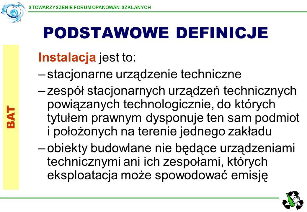 STOWARZYSZENIE FORUM OPAKOWAŃ SZKLANYCH PODSTAWOWE DEFINICJE Instalacja jest to: –stacjonarne urządzenie techniczne –zespół stacjonarnych urządzeń tec