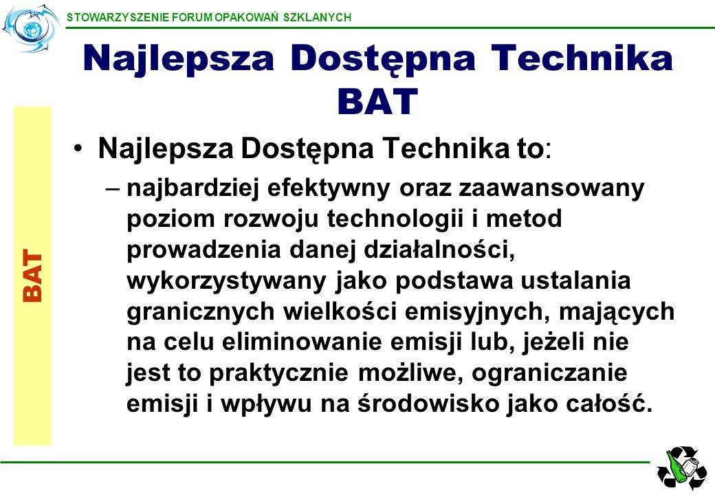 STOWARZYSZENIE FORUM OPAKOWAŃ SZKLANYCH Najlepsza Dostępna Technika BAT Najlepsza Dostępna Technika to: –najbardziej efektywny oraz zaawansowany pozio