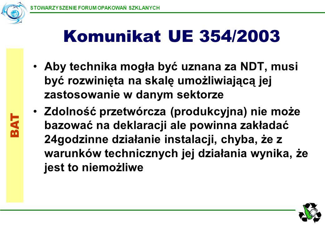 STOWARZYSZENIE FORUM OPAKOWAŃ SZKLANYCH Komunikat UE 354/2003 Aby technika mogła być uznana za NDT, musi być rozwinięta na skalę umożliwiającą jej zas