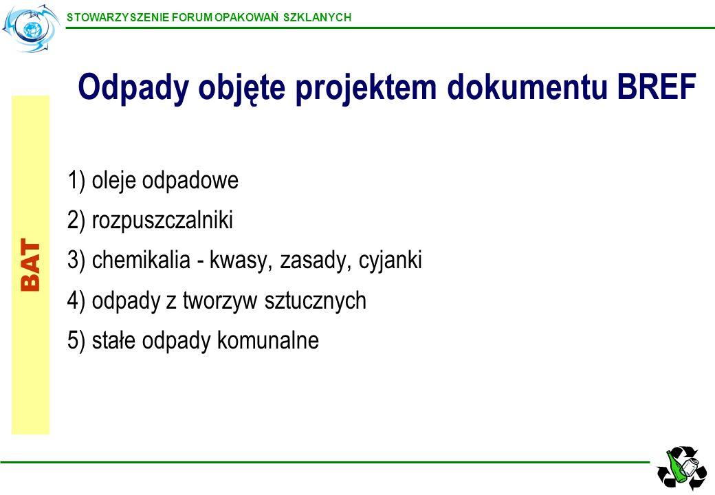 STOWARZYSZENIE FORUM OPAKOWAŃ SZKLANYCH 1)oleje odpadowe 2) rozpuszczalniki 3) chemikalia - kwasy, zasady, cyjanki 4) odpady z tworzyw sztucznych 5) s