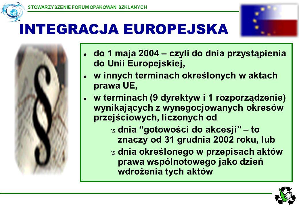 STOWARZYSZENIE FORUM OPAKOWAŃ SZKLANYCH l do 1 maja 2004 – czyli do dnia przystąpienia do Unii Europejskiej, l w innych terminach określonych w aktach