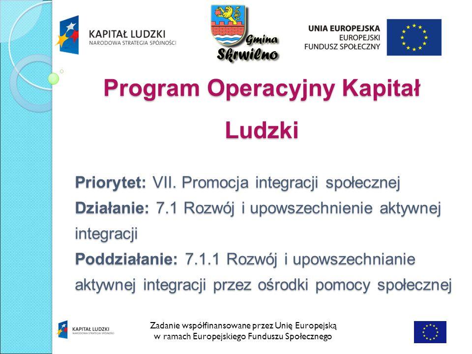Program Operacyjny Kapitał Ludzki Zadanie współfinansowane przez Unię Europejską w ramach Europejskiego Funduszu Społecznego Priorytet: VII.