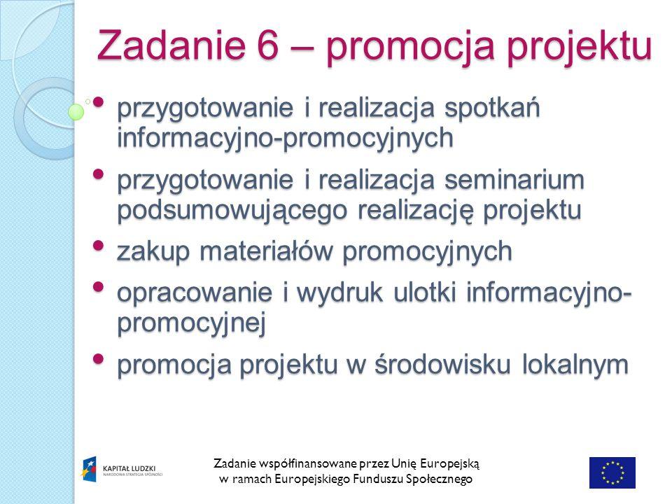 Zadanie 6 – promocja projektu Zadanie współfinansowane przez Unię Europejską w ramach Europejskiego Funduszu Społecznego przygotowanie i realizacja spotkań informacyjno-promocyjnych przygotowanie i realizacja spotkań informacyjno-promocyjnych przygotowanie i realizacja seminarium podsumowującego realizację projektu przygotowanie i realizacja seminarium podsumowującego realizację projektu zakup materiałów promocyjnych zakup materiałów promocyjnych opracowanie i wydruk ulotki informacyjno- promocyjnej opracowanie i wydruk ulotki informacyjno- promocyjnej promocja projektu w środowisku lokalnym promocja projektu w środowisku lokalnym