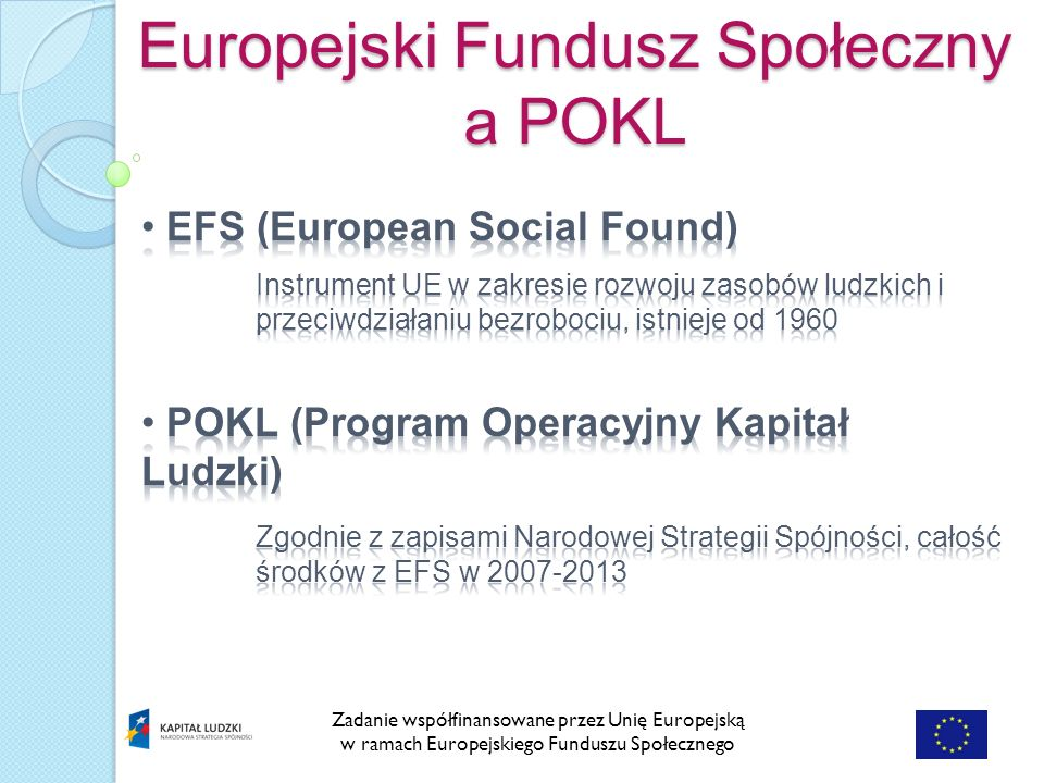 Zadanie współfinansowane przez Unię Europejską w ramach Europejskiego Funduszu Społecznego Europejski Fundusz Społeczny a POKL