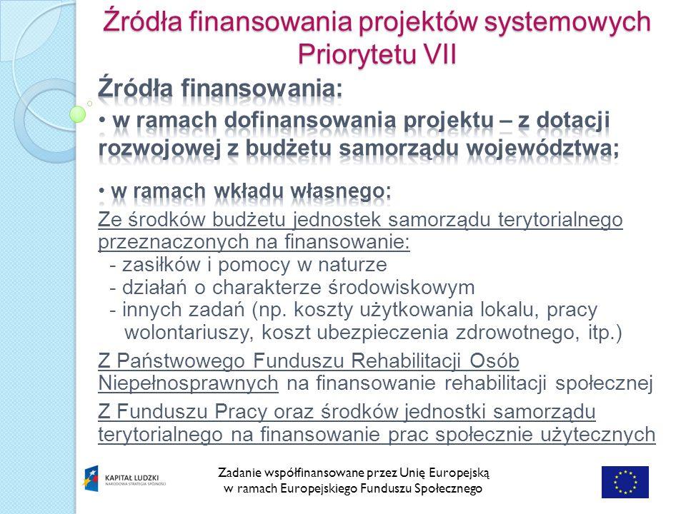 Zadanie współfinansowane przez Unię Europejską w ramach Europejskiego Funduszu Społecznego Źródła finansowania projektów systemowych Priorytetu VII