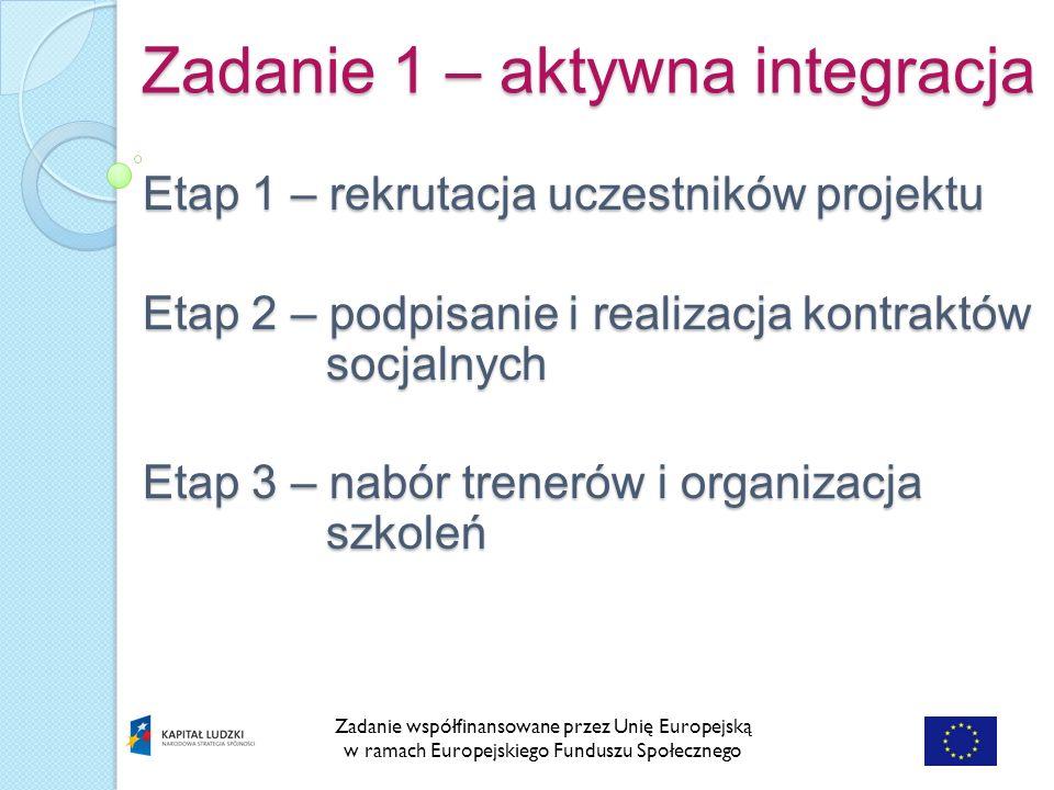 Zadanie 1 – aktywna integracja Zadanie współfinansowane przez Unię Europejską w ramach Europejskiego Funduszu Społecznego Etap 1 – rekrutacja uczestników projektu Etap 2 – podpisanie i realizacja kontraktów socjalnych Etap 3 – nabór trenerów i organizacja szkoleń