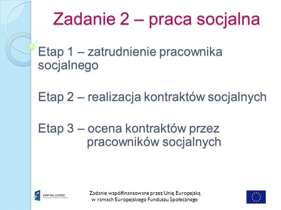 Zadanie 2 – praca socjalna Zadanie współfinansowane przez Unię Europejską w ramach Europejskiego Funduszu Społecznego Etap 1 – zatrudnienie pracownika socjalnego Etap 2 – realizacja kontraktów socjalnych Etap 3 – ocena kontraktów przez pracowników socjalnych
