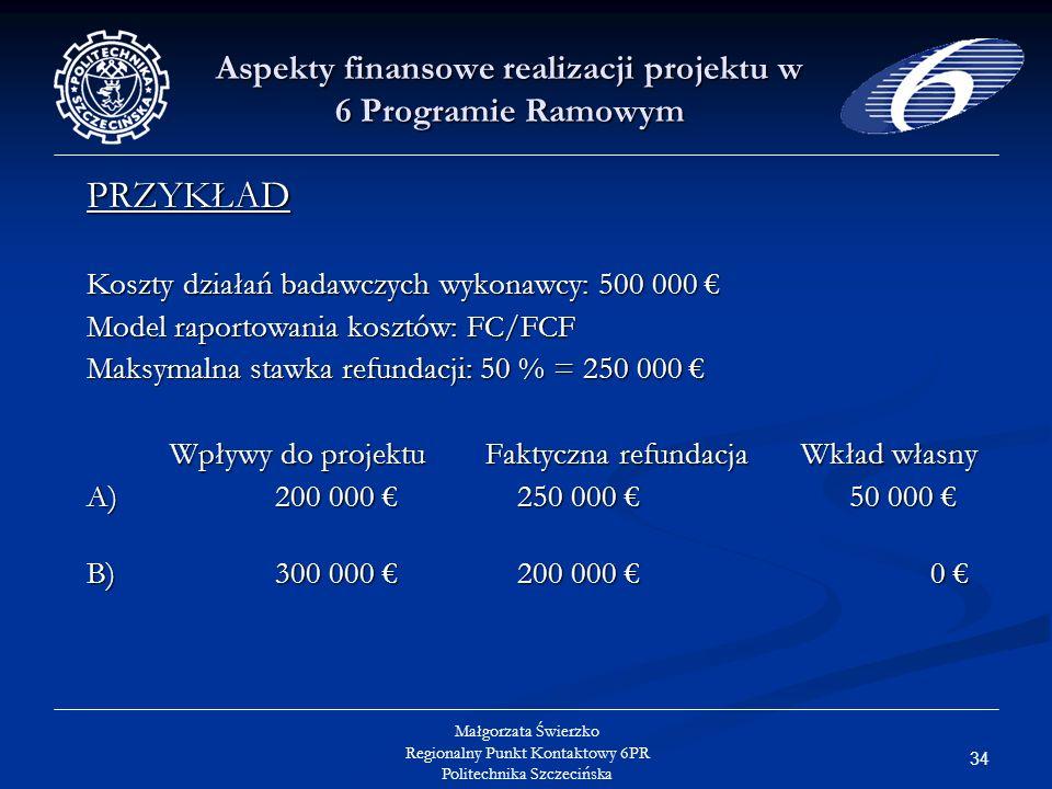 34 Małgorzata Świerzko Regionalny Punkt Kontaktowy 6PR Politechnika Szczecińska Aspekty finansowe realizacji projektu w 6 Programie Ramowym PRZYKŁAD Koszty działań badawczych wykonawcy: 500 000 Koszty działań badawczych wykonawcy: 500 000 Model raportowania kosztów: FC/FCF Maksymalna stawka refundacji: 50 % = 250 000 Maksymalna stawka refundacji: 50 % = 250 000 Wpływy do projektuFaktyczna refundacjaWkład własny A) 200 000 250 000 50 000 A) 200 000 250 000 50 000 B) 300 000 200 000 0 B) 300 000 200 000 0