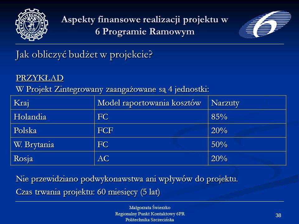 38 Małgorzata Świerzko Regionalny Punkt Kontaktowy 6PR Politechnika Szczecińska Aspekty finansowe realizacji projektu w 6 Programie Ramowym Jak obliczyć budżet w projekcie.