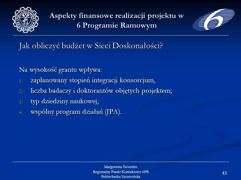 43 Małgorzata Świerzko Regionalny Punkt Kontaktowy 6PR Politechnika Szczecińska Aspekty finansowe realizacji projektu w 6 Programie Ramowym Jak obliczyć budżet w Sieci Doskonałości.