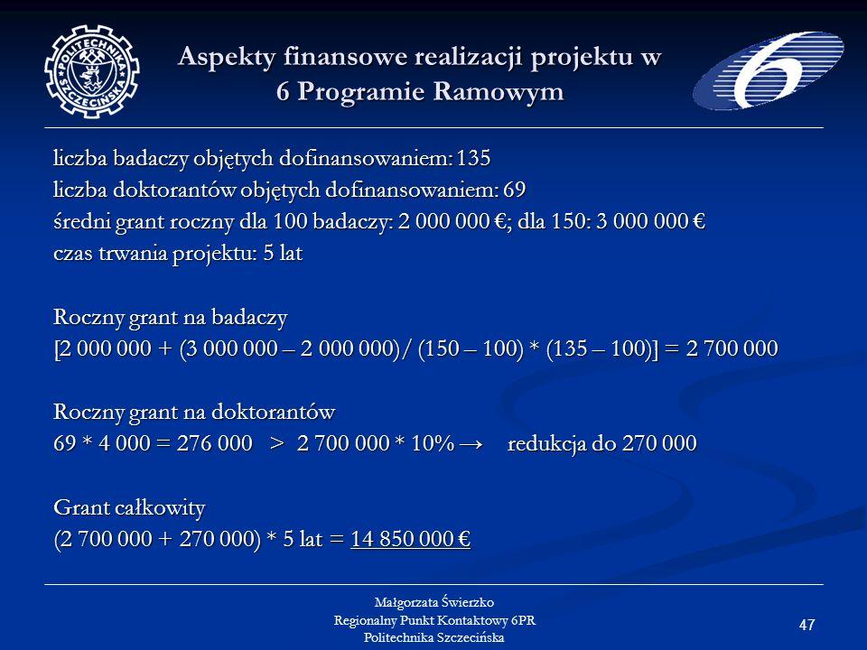 47 Małgorzata Świerzko Regionalny Punkt Kontaktowy 6PR Politechnika Szczecińska Aspekty finansowe realizacji projektu w 6 Programie Ramowym liczba badaczy objętych dofinansowaniem: 135 liczba doktorantów objętych dofinansowaniem: 69 średni grant roczny dla 100 badaczy: 2 000 000 ; dla 150: 3 000 000 średni grant roczny dla 100 badaczy: 2 000 000 ; dla 150: 3 000 000 czas trwania projektu: 5 lat Roczny grant na badaczy [2 000 000 + (3 000 000 – 2 000 000)/ (150 – 100) * (135 – 100)] = 2 700 000 Roczny grant na doktorantów 69 * 4 000 = 276 000 > 2 700 000 * 10% redukcja do 270 000 Grant całkowity (2 700 000 + 270 000) * 5 lat = 14 850 000 (2 700 000 + 270 000) * 5 lat = 14 850 000