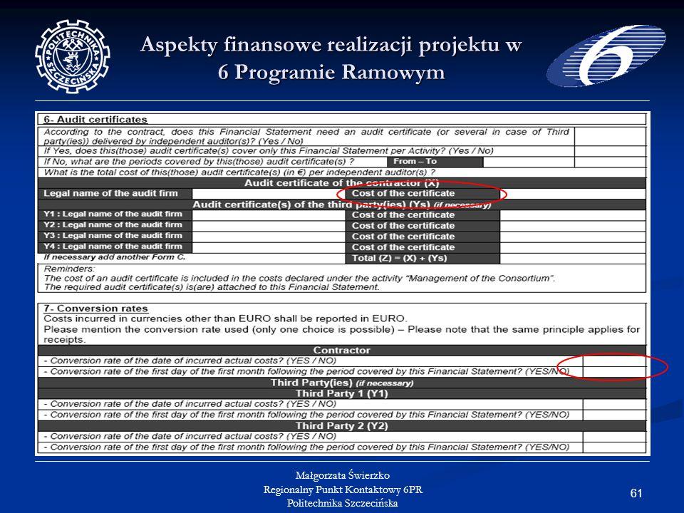 61 Małgorzata Świerzko Regionalny Punkt Kontaktowy 6PR Politechnika Szczecińska Aspekty finansowe realizacji projektu w 6 Programie Ramowym