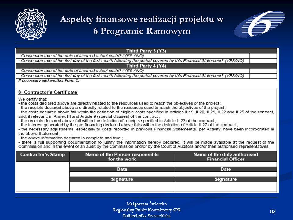 62 Małgorzata Świerzko Regionalny Punkt Kontaktowy 6PR Politechnika Szczecińska Aspekty finansowe realizacji projektu w 6 Programie Ramowym