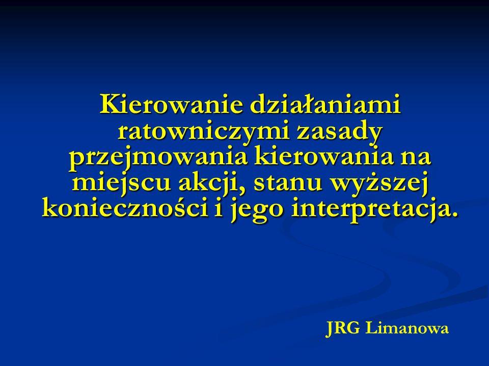 Kierowanie działaniami ratowniczymi zasady przejmowania kierowania na miejscu akcji, stanu wyższej konieczności i jego interpretacja. JRG Limanowa