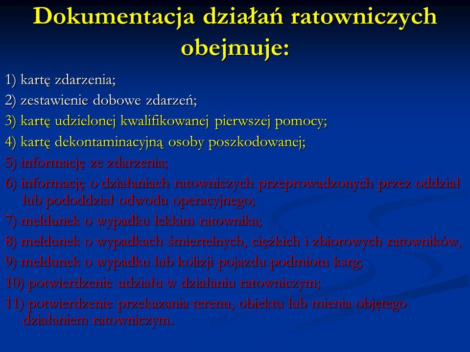 Dokumentacja działań ratowniczych obejmuje: 1) kartę zdarzenia; 2) zestawienie dobowe zdarzeń; 3) kartę udzielonej kwalifikowanej pierwszej pomocy; 4)