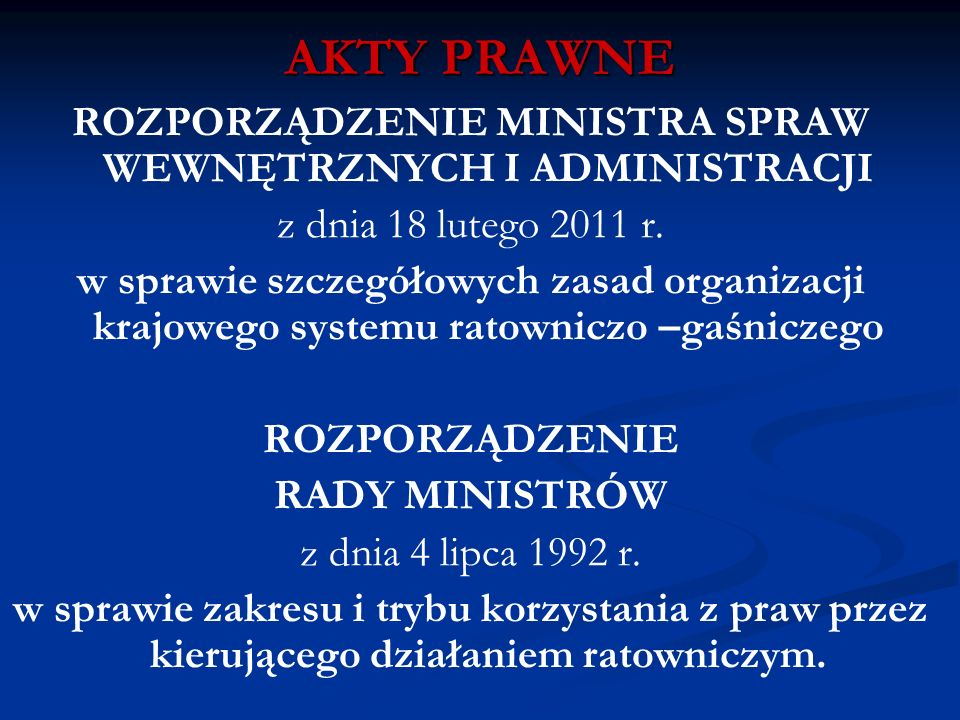 AKTY PRAWNE ROZPORZĄDZENIE MINISTRA SPRAW WEWNĘTRZNYCH I ADMINISTRACJI z dnia 18 lutego 2011 r. w sprawie szczegółowych zasad organizacji krajowego sy