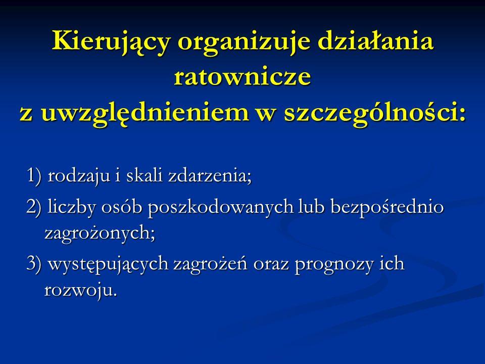 Kierujący organizuje działania ratownicze z uwzględnieniem w szczególności: 1) rodzaju i skali zdarzenia; 2) liczby osób poszkodowanych lub bezpośredn