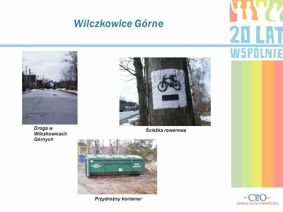 Wilczkowice Górne Droga w Wilczkowicach Górnych Ścieżka rowerowa Przydrożny kontener