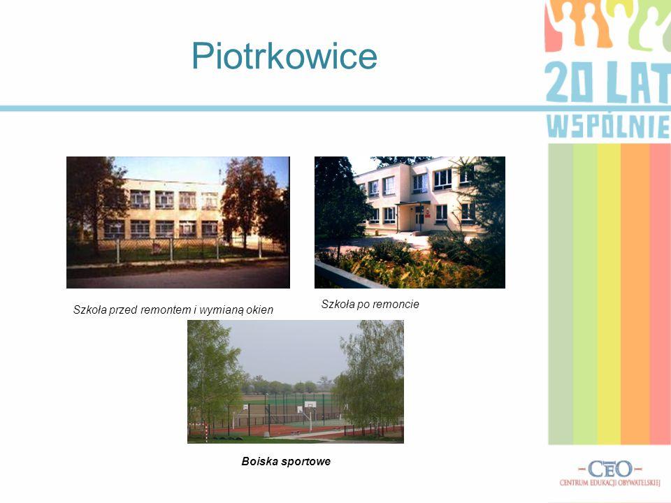 Piotrkowice Boiska sportowe Szkoła przed remontem i wymianą okien Szkoła po remoncie