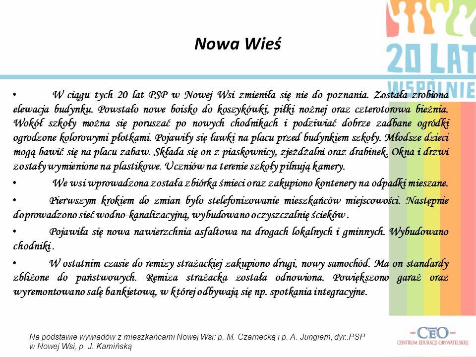 Nowa Wieś W ciągu tych 20 lat PSP w Nowej Wsi zmieniła się nie do poznania.