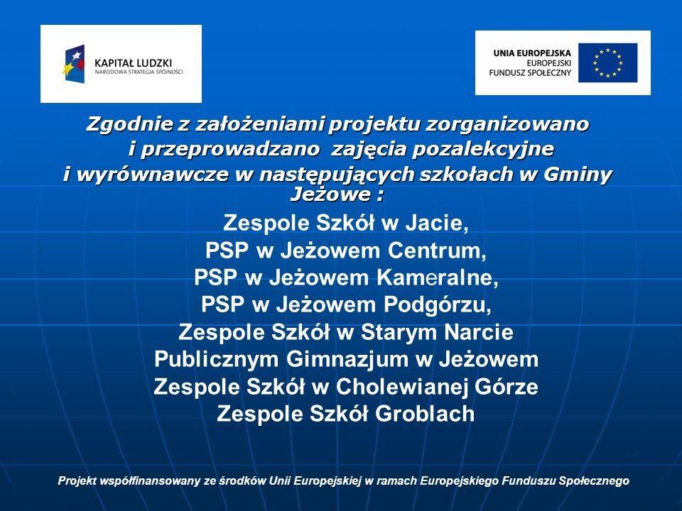 Zgodnie z założeniami projektu zorganizowano i przeprowadzano zajęcia pozalekcyjne i przeprowadzano zajęcia pozalekcyjne i wyrównawcze w następujących szkołach w Gminy Jeżowe : Projekt współfinansowany ze środków Unii Europejskiej w ramach Europejskiego Funduszu Społecznego Zespole Szkół w Jacie, PSP w Jeżowem Centrum, PSP w Jeżowem Kameralne, PSP w Jeżowem Podgórzu, Zespole Szkół w Starym Narcie Publicznym Gimnazjum w Jeżowem Zespole Szkół w Cholewianej Górze Zespole Szkół Groblach