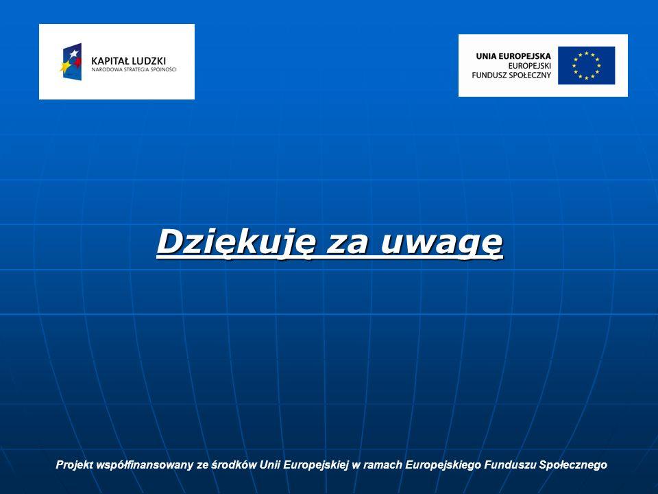Dziękuję za uwagę Projekt współfinansowany ze środków Unii Europejskiej w ramach Europejskiego Funduszu Społecznego
