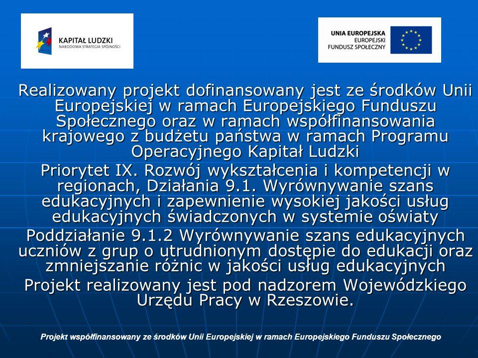 Realizowany projekt dofinansowany jest ze środków Unii Europejskiej w ramach Europejskiego Funduszu Społecznego oraz w ramach współfinansowania krajowego z budżetu państwa w ramach Programu Operacyjnego Kapitał Ludzki Priorytet IX.