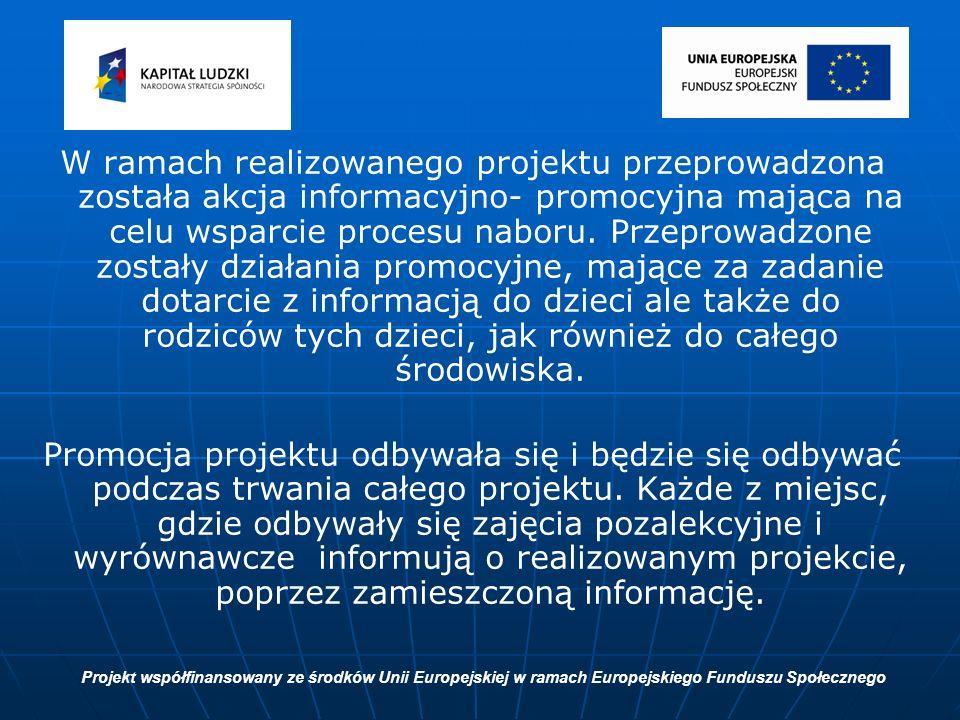 W ramach realizowanego projektu przeprowadzona została akcja informacyjno- promocyjna mająca na celu wsparcie procesu naboru.