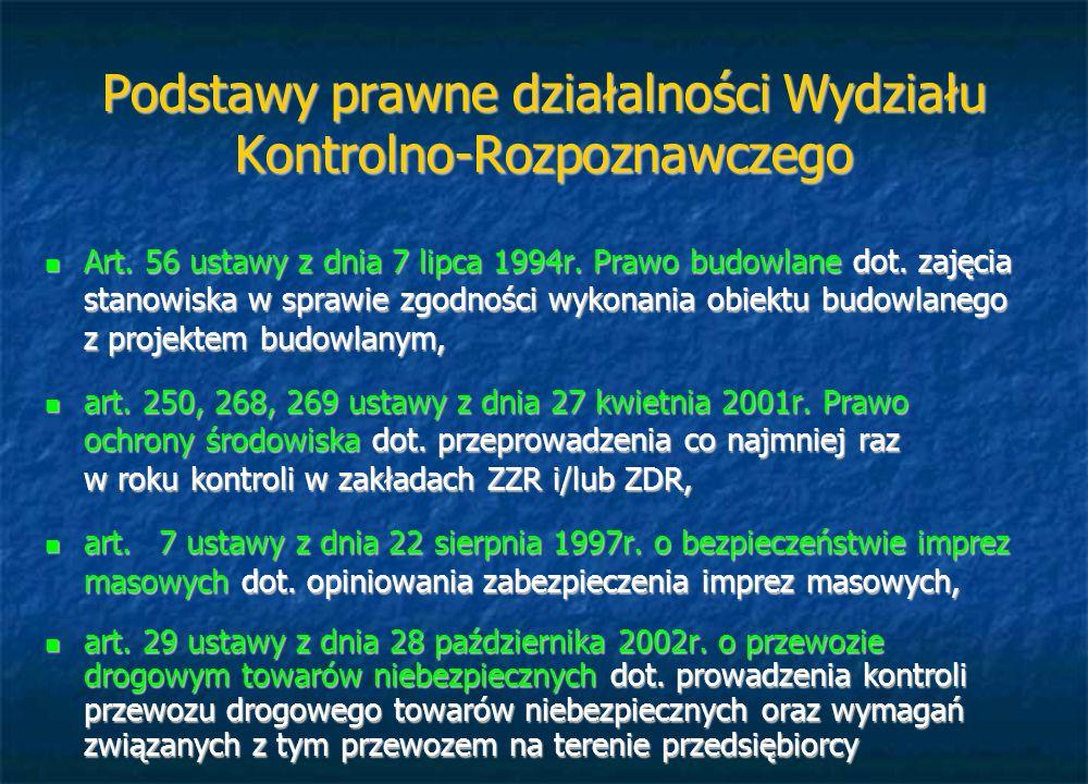 Podstawy prawne działalności Wydziału Kontrolno-Rozpoznawczego Art. 56 ustawy z dnia 7 lipca 1994r. Prawo budowlane dot. zajęcia stanowiska w sprawie