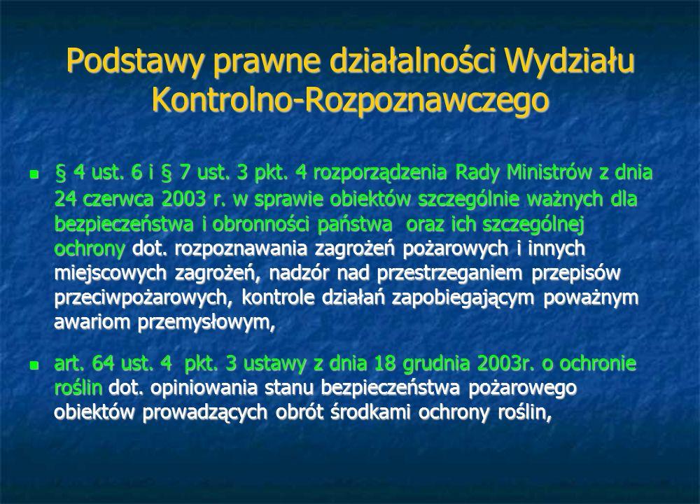 Podstawy prawne działalności Wydziału Kontrolno-Rozpoznawczego § 4 ust. 6 i § 7 ust. 3 pkt. 4 rozporządzenia Rady Ministrów z dnia 24 czerwca 2003 r.