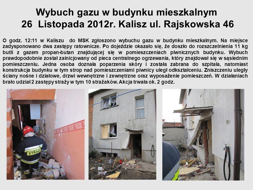 Wybuch gazu w budynku mieszkalnym 26 Listopada 2012r. Kalisz ul. Rajskowska 46 O godz. 12:11 w Kaliszu do MSK zgłoszono wybuchu gazu w budynku mieszka
