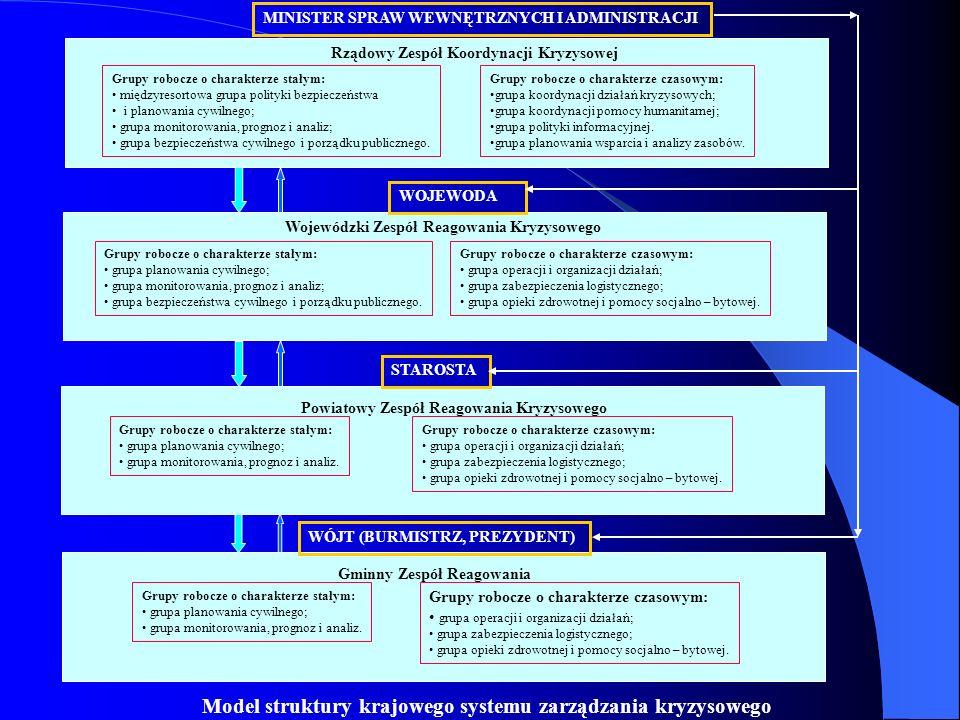 MINISTER SPRAW WEWNĘTRZNYCH I ADMINISTRACJI Rządowy Zespół Koordynacji Kryzysowej Grupy robocze o charakterze czasowym: grupa koordynacji działań kryz