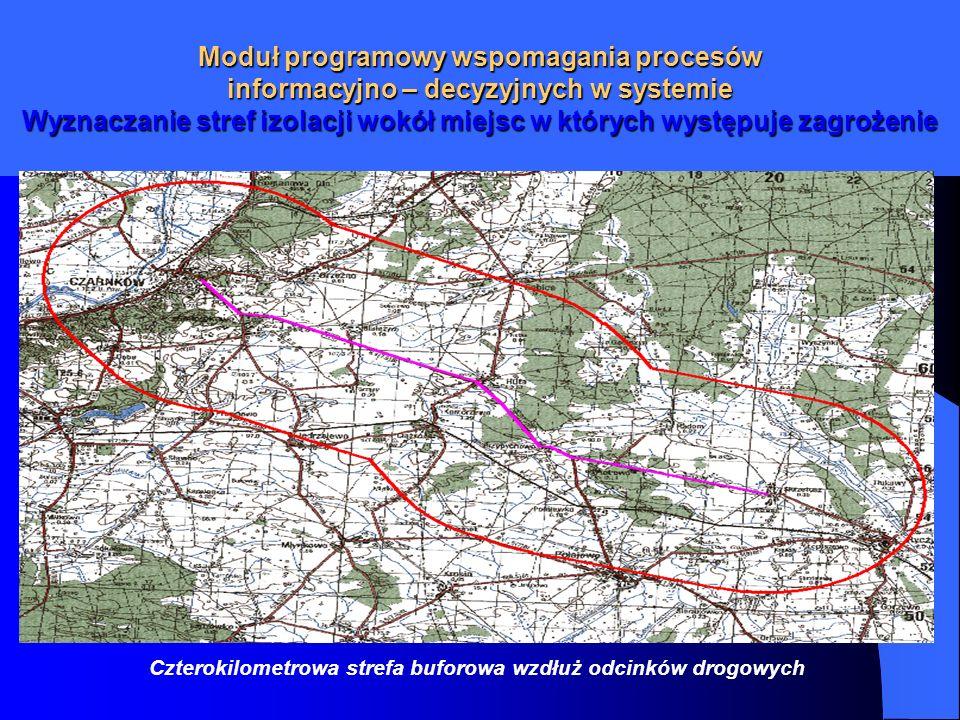Moduł programowy wspomagania procesów informacyjno – decyzyjnych w systemie Wyznaczanie stref izolacji wokół miejsc w których występuje zagrożenie Czt