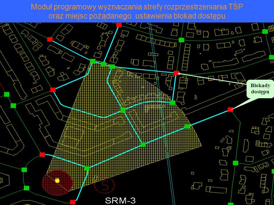 Moduł programowy wyznaczania strefy rozprzestrzeniania TŚP oraz miejsc pożądanego ustawienia blokad dostępu Blokady dostępu