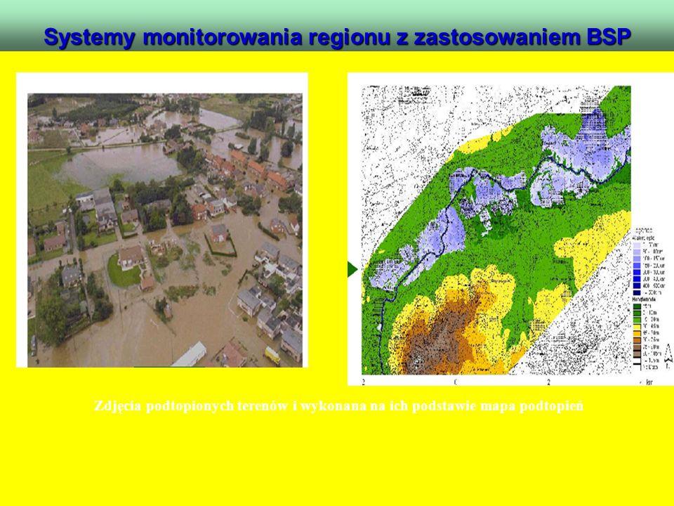 Systemy monitorowania regionu z zastosowaniem BSP. Zdjęcia podtopionych terenów i wykonana na ich podstawie mapa podtopień