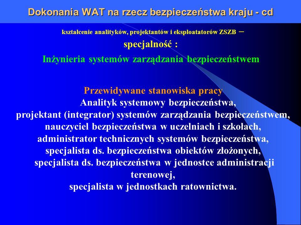 Dokonania WAT na rzecz bezpieczeństwa kraju - cd kształcenie analityków, projektantów i eksploatatorów ZSZB – specjalność : Inżynieria systemów zarząd