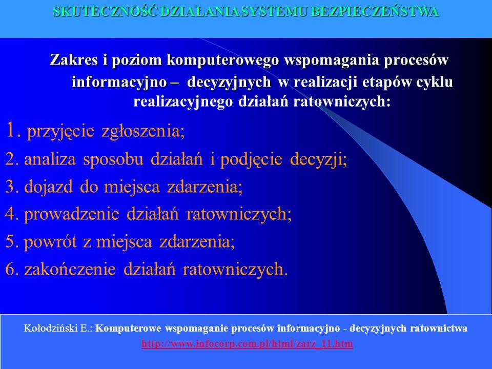 Kołodziński E.: Komputerowe wspomaganie procesów informacyjno - decyzyjnych ratownictwa http://www.infocorp.com.pl/html/zarz_11.htm Zakres i poziom ko