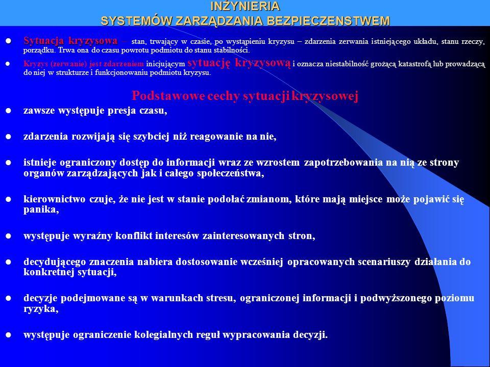 INŻYNIERIA SYSTEMÓW ZARZĄDZANIA BEZPIECZENSTWEM Rodzaje systemów bezpieczeństwa SYSTEM BEZPIECZEŃSTWA SYSTEM RATOWNICTWA SYSTEM ZARZĄDZANIA KRYZYSOWEGO