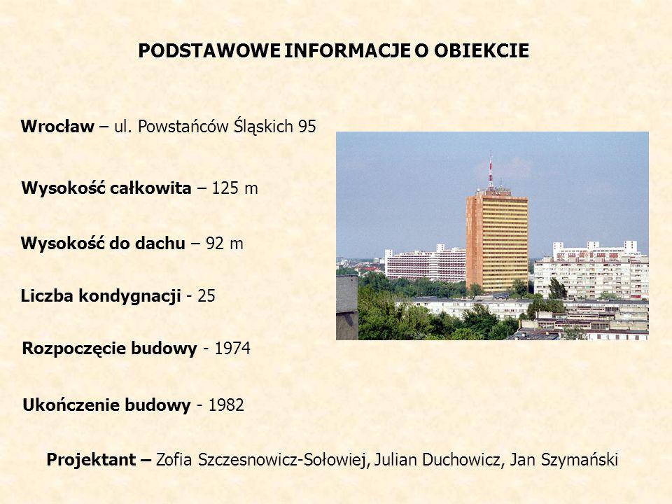 PODSTAWOWE INFORMACJE O OBIEKCIE Wrocław – ul. Powstańców Śląskich 95 Wysokość całkowita – 125 m Wysokość do dachu – 92 m Liczba kondygnacji - 25 Rozp
