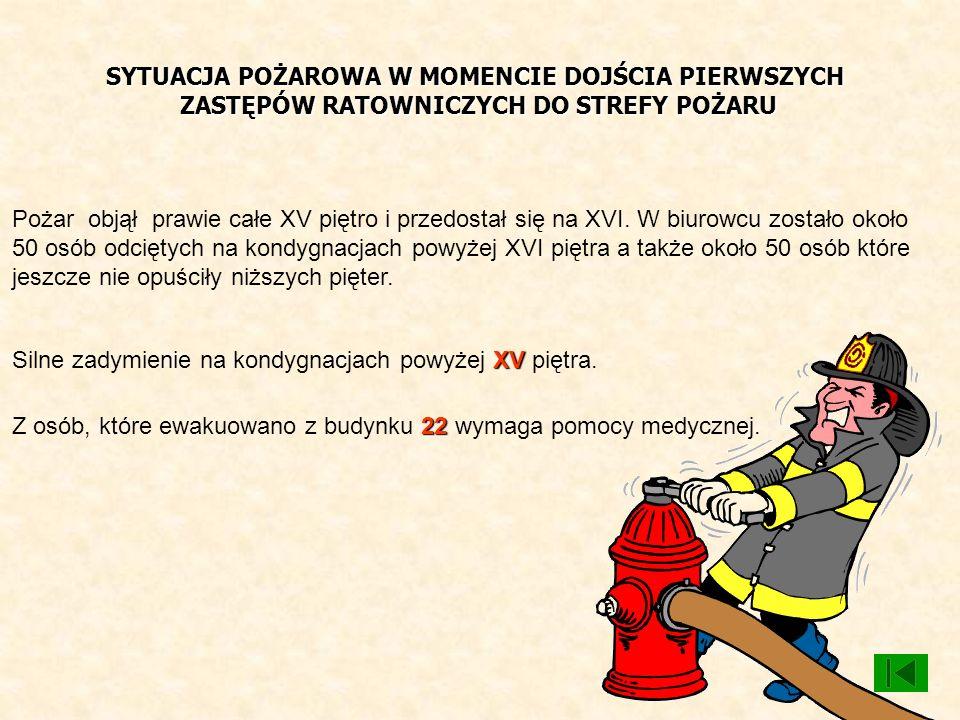 SYTUACJA POŻAROWA W MOMENCIE DOJŚCIA PIERWSZYCH ZASTĘPÓW RATOWNICZYCH DO STREFY POŻARU Pożar objął prawie całe XV piętro i przedostał się na XVI. W bi