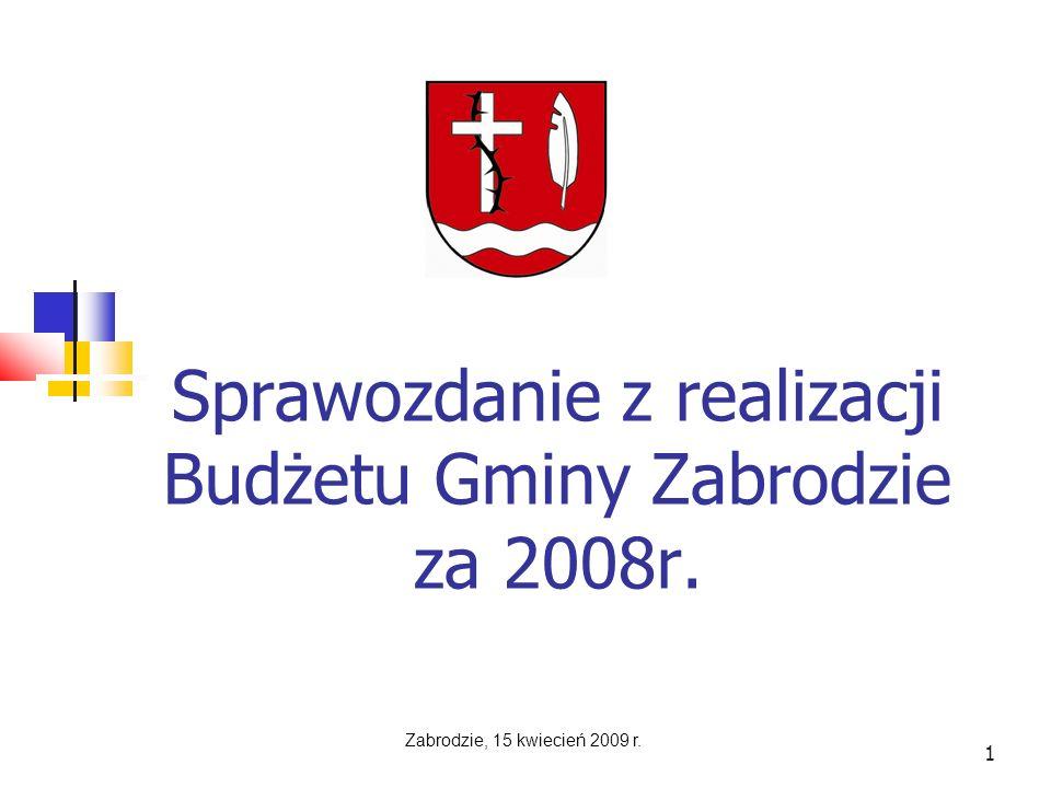 1 Sprawozdanie z realizacji Budżetu Gminy Zabrodzie za 2008r. Zabrodzie, 15 kwiecień 2009 r.