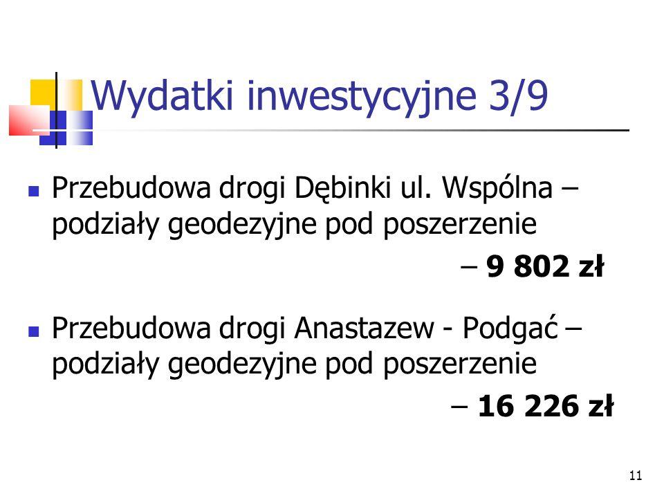 11 Wydatki inwestycyjne 3/9 Przebudowa drogi Dębinki ul. Wspólna – podziały geodezyjne pod poszerzenie – 9 802 zł Przebudowa drogi Anastazew - Podgać