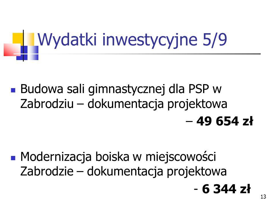 13 Wydatki inwestycyjne 5/9 Budowa sali gimnastycznej dla PSP w Zabrodziu – dokumentacja projektowa – 49 654 zł Modernizacja boiska w miejscowości Zabrodzie – dokumentacja projektowa - 6 344 zł