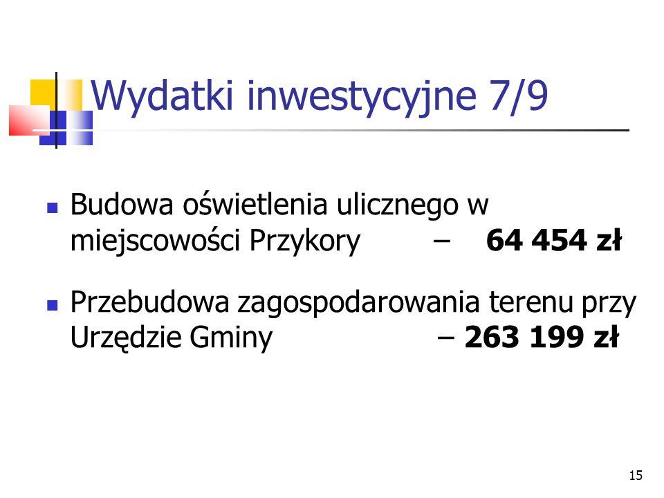 15 Wydatki inwestycyjne 7/9 Budowa oświetlenia ulicznego w miejscowości Przykory – 64 454 zł Przebudowa zagospodarowania terenu przy Urzędzie Gminy –