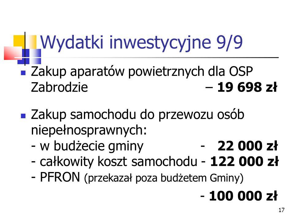 17 Wydatki inwestycyjne 9/9 Zakup aparatów powietrznych dla OSP Zabrodzie – 19 698 zł Zakup samochodu do przewozu osób niepełnosprawnych: - w budżecie gminy - 22 000 zł - całkowity koszt samochodu - 122 000 zł - PFRON (przekazał poza budżetem Gminy) - 100 000 zł